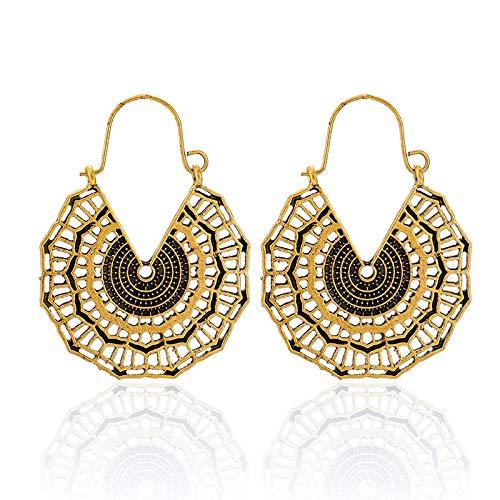 FEARRIN Pendientes Declaración de Moda Pendientes Indios Recorte Grabado Vintage Pendientes de Flores de Metal Joyas llamativas Oro Plata Color Brincos Oro