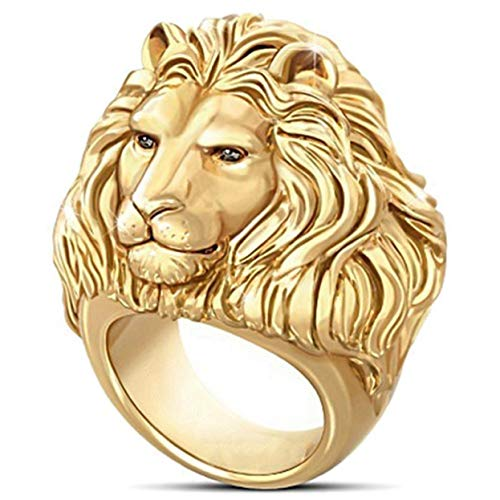 Jyuesi Worthwhile Magnificent 18K Solid Gold Mens Ring African Grassland Lion Diamond Jewelry Father's Day Men Hip Hop King Rings for Him Boyfrien(None 10 黄金色10号)