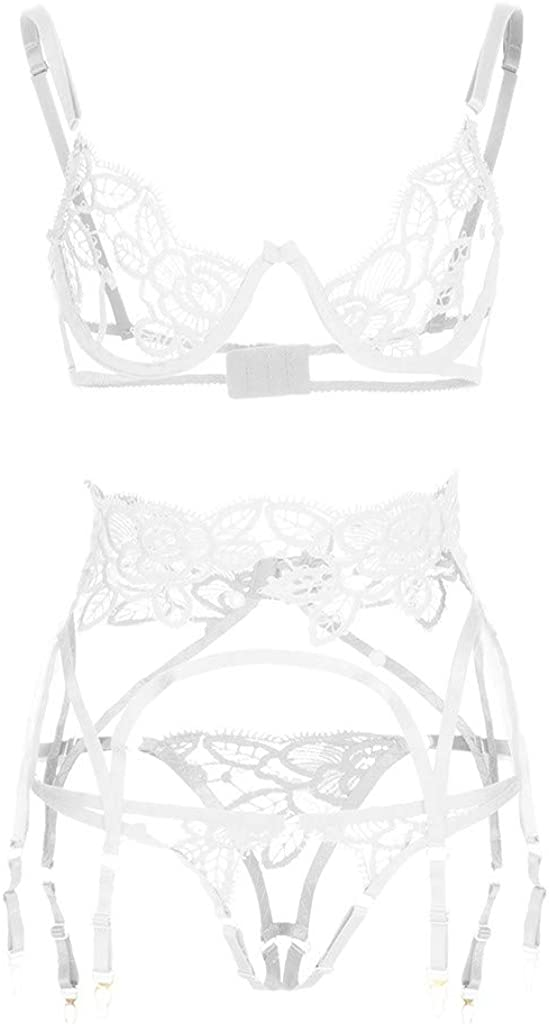 FUNEY Women Sexy Lingerie Set with Garter Bra and Briefs Lace Temptation Teddy Strap Babydoll Sleepwear