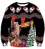 Idgreatim Unisex Novelty Ugly Sweatshirt 3D Spitfire Boxing Cats Long Sleeve Pullover Sweatshirts for Christmas XL
