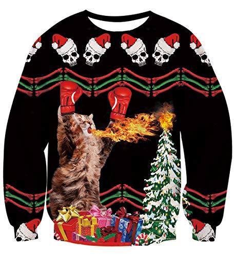 AIDEAONE Män kvinnor ful jul jumper sweatshirt långärmad t-shirt S-XXL