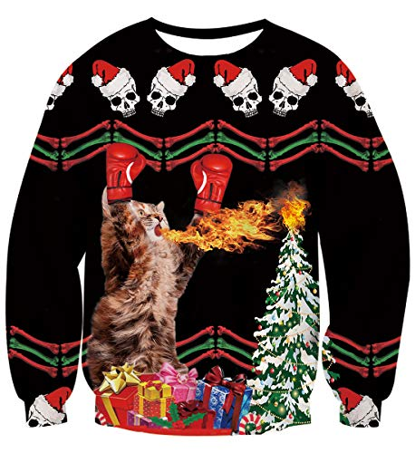 Idgreatim Teens Boys Girls Funny Spitfire Boxing Cats Graphic Pullover Ugly Christmas Sweatshirt Sweater S