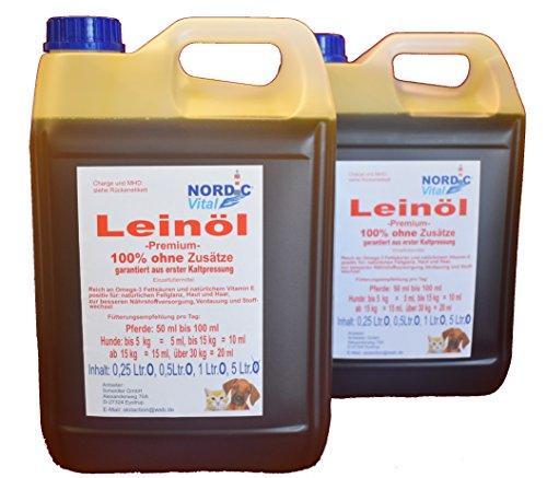 NordicVital Leinöl 100%, Premiumqualität, 2x5 Ltr. Kanister=10 Ltr,Pferde,Hunde,