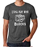 CBTWear I Still Play with Blocks - Mechanic Engine Block Funny Gift for Car Enthusiast Men's T-Shirt (Medium, Charcoal)