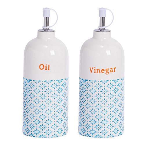 Nicola Spring Flaschen für Essig und Öl - Porzellan - Dosierer - blaues/orangefarbenes Muster - 500 ml - 2 Stück