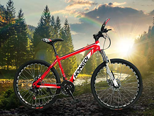 General Packaging Mountain Bike Bicycle Adult Student Outdoors Sport Cycling 26 Inch Road Folding Bikes Exercise 27-Speed for Men and Women (Red)