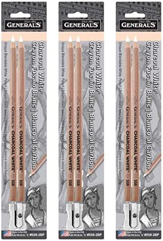 General Pencil 5582BP Charcoal White Pencils 2/Pkg-2B
