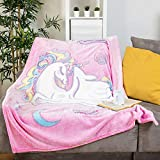 """GLOWING SNUGGLES Glow in The Dark Blanket for Kids- Girls Pink Fuzzy Unicorn Throw -Toddler, Baby Blanket (50""""x60"""") - Unicorn Gifts- Girl Room Decor (4/30- Improved Glow Blanket)"""