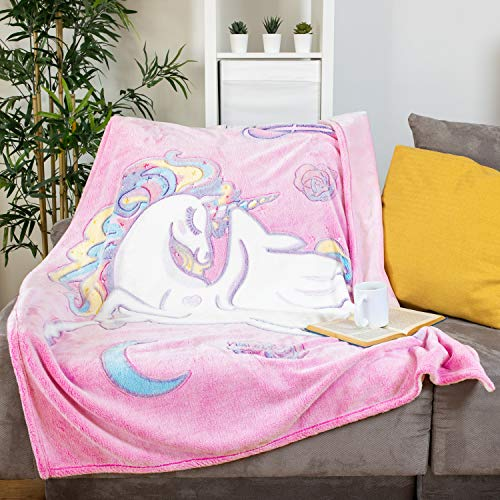 "GLOWING SNUGGLES Glow in The Dark Girls Pink Fuzzy Unicorn Throw (50""x60"")"