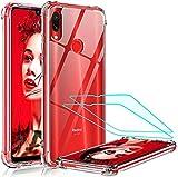 LeYi Funda Xiao Redmi Note 7/7 Pro con [2-Unidades] Cristal Vidrio Templado, Cristal Transparente Shockproof Carcasa Ultra Silicona PC y TPU Slim Gel Bumper Cover Case para Movil Redmi Note 7, Clear