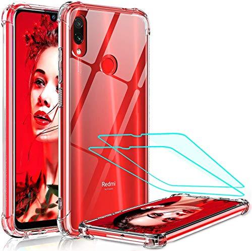 LeYi per Cover Xiaomi Redmi Note 7/7 PRO con Vetro Temperato [2 Pack],Silicone Trasparente Hard PC Bumper TPU Case per Custodie Cellulare Xiaomi Redmi Note 7/7 PRO Trasparente