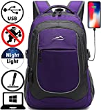 Backpack for School College Student Sturdy Bookbag Travel Business with USB Charging Port Laptop compartment Chest Straps Anti Theft Night Light Reflective (Purple)