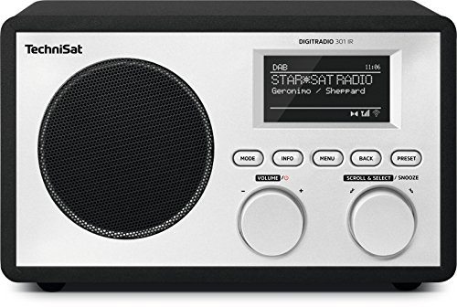 TechniSat DigitRadio 301 IR (Internet Radio con Wi-Fi/DAB +/FM Radio Streaming Audio, UpnP, con telecomando, Sveglia, Timer, funzione snooze, AUX IN), Nero
