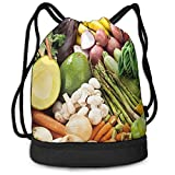 huatongxin Mochila con cordón Bolsa de hilo multiusos Verduras Comida vegana Mochila de frutas Resistente al agua para gimnasio Compras Deporte Yoga