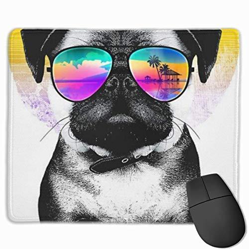 Hawaiian Rainbow Pug Rutschfeste Persönlichkeit Designs Gaming Mouse Pad Schwarzes Tuch Rechteck Mousepad Art Naturkautschuk Mausmatte mit genähten Kanten