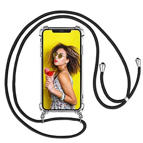 mixigoo Funda con Cuerda para iPhone 11, Carcasa Transparente TPU Suave Silicona Case con Correa Colgante Ajustable Collar Correa de Cuello Cadena Cordón para iPhone 11 6,1 Pulgada