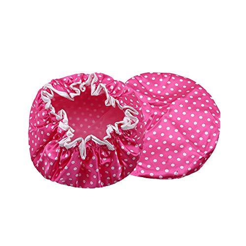 Ogquaton Bonnet de Bain Haut de Gamme à Double épaisseur avec Bande élastique et Chapeau de Douche imperméable pour Femmes, Style Douche de Spa 5