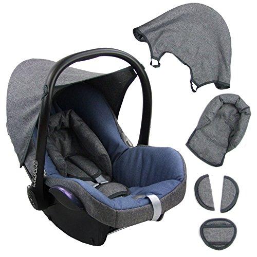 BAMBINIWELT Ersatzbezug für Maxi-Cosi CabrioFix 6-tlg. GRAU/BLAU, Bezug für Babyschale, Komplett-Set XX