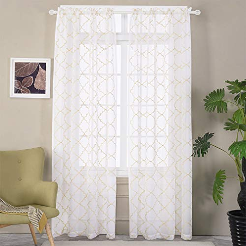 """Embroidered Moroccan Tile Lattice Design Gold Sheer Curtains 84 Inch Long, Rod Pocket Sheer Drapes for Living Room, Bedroom, 2 Panels, 52""""x84"""", Semi Voile Window Treatments for Yard, Villa, Parlor."""