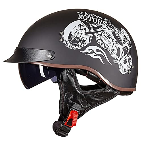 Casco Moto Jet, Retro Cascos Moto Half Helmet con Visera, ECE Homologado Casco Moto Abierto para Scooter Mofa Crash (Color : E, Size : M=(55~56CM))