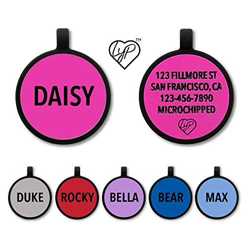 Love Your Pets Soundless Pet Tag - Deep Engraved Silicone – Double Sided and Engraving Will Last - Many Design Choices of Pet ID Tags, Dog Tags, Cat Tags (Hot Pink, Circle)