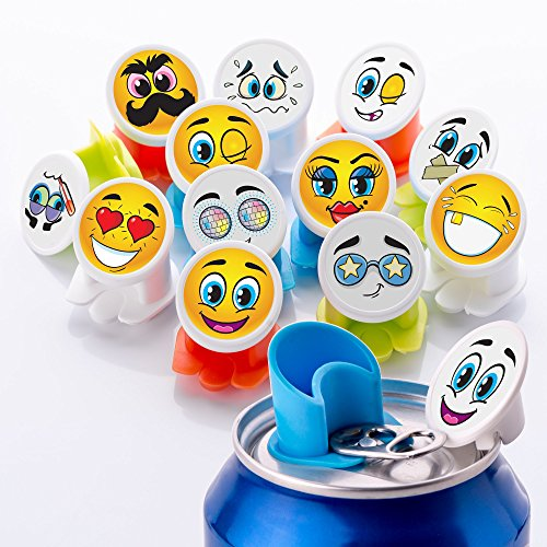 Canper es un nuevo tapón de latas reutilizable para el consumo higiénico de bebidas enlatadas – Pajita multiusos para latas de refresco (Emoji 18 Pack)