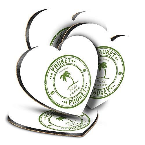 Destination Vinyl ltd Great Posavasos (juego de 4) corazón – Phuket Tailandia Tailandia sello de viaje bebida brillante posavasos protección de mesa para cualquier tipo de mesa #4589