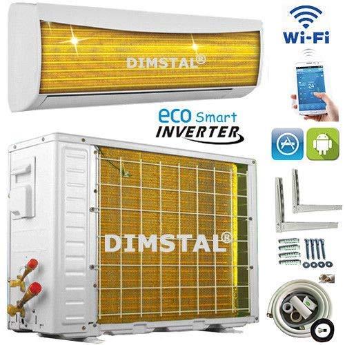 A++/A++ ECO Smart INVERTER Split Klimaanlage mit Wärmepumpe Klimagerät ECO Smart WiFi WLAN 12000 BTU 3,5 kW komplett Set inkl. 3m Kupferleitungen mit Heizfunktion (3,5 kW)