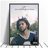 Qqwer Jコール-2014フォレストヒルズドライブラップアルバムポップミュージックスターワンポスターキャンバス絵画リビングルームアートウォール家の装飾-50X70Cmx1Pcs-フレームなし