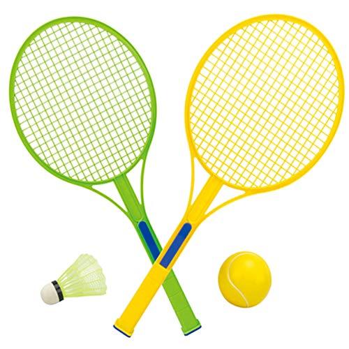 BESPORTBLE 1 conjunto de badminton para crianças, conjunto de raquetes de remo, conjunto com badminton shuttlecocks e bolas de tênis, jogo de família para ambientes internos e externos, quintal