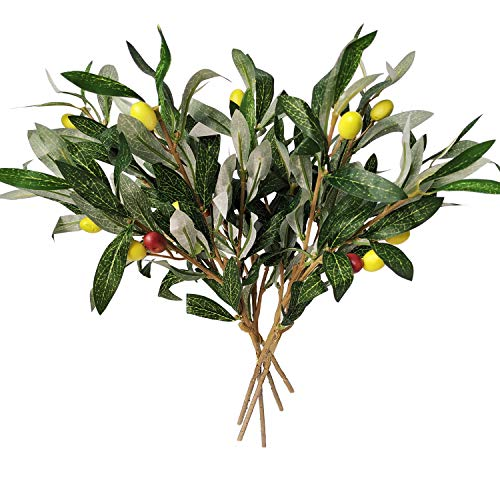 Artificial Olive Leaves Branches (5pcs) and Stems with Fruit | Greenery for Vases | Faux Tree Plant | Fake Olives Leaf Spray | Home Kitchen Party Plastic Decor AF43