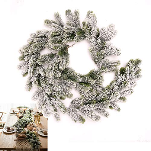 Long Artificial Snow Pine Branches Christmas Garland with Snow Decorations with Pine Front Door Snow Wreaths Artificial Hanging Room Wall Ornaments