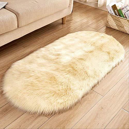 Alfombra de piel de oveja sintética, alfombras suaves y esponjosas Ellipse, alfombra de felpa sedosa y peluda, alfombra de noche duradera, sala de juegos para niños, amarillo claro de 60x90 cm