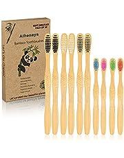 Athenaya Cepillo de Dientes de Bambú, Cepillo de Carbón Bambú 10 Unidades,Biodegradables Ecológicos y Embalaje Reciclable, Sin BPA