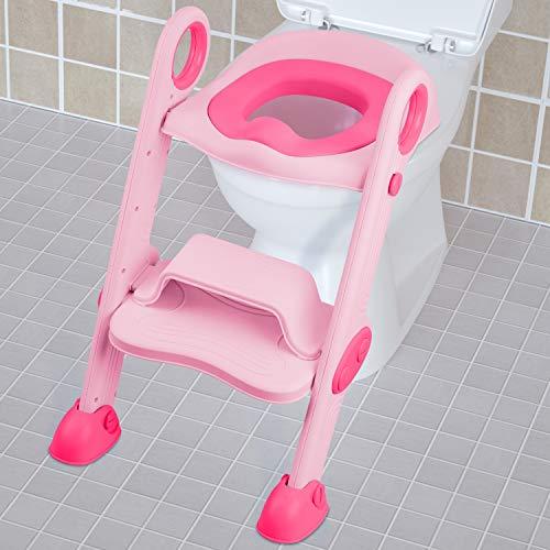 NEARPOW Töpfchen-WC-Sitz mit Trittleiter, verstellbares Baby-Kleinkind-Kindertrainer mit weich gepolstertem Kissen, robust, rutschfest, für 1-7 Kinder (Pink)