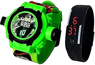 Pappi-Haunt - QUALITY ASSURED - Kids Special Favourite Toys - Pack of 2 - Benton ( BEN 10 ) Projector Band Watch + Jelly Slim Black Digital Led Band Watch for Kids, Children