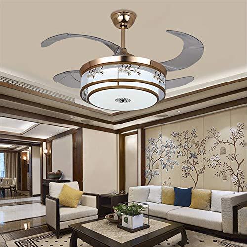 Lightjh kroonluchter woonkamer modern retro ventilator pruim plafondlamp met afstandsbediening woonkamer slaapkamer eetkamer goud plafond ventilator lamp frequentie LED onzichtbaar driekleurige hanglamp