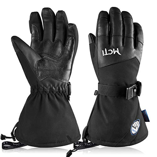 MCTi Mens Ski Gloves Touch Screen Waterproof Breathable Winter Snow Snowboard Leather Gloves Wrist Leashes Black Large