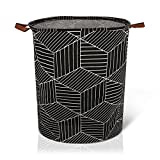 AXUAN 79L Laundry Hamper, Collapsible Laundry Basket, Baby Laundry Basket, Large Laundry Hamper Waterproof with Leather Handle for Clothes, Toys, College Dorms, Bedroom, Bathroom(Black Geometry)