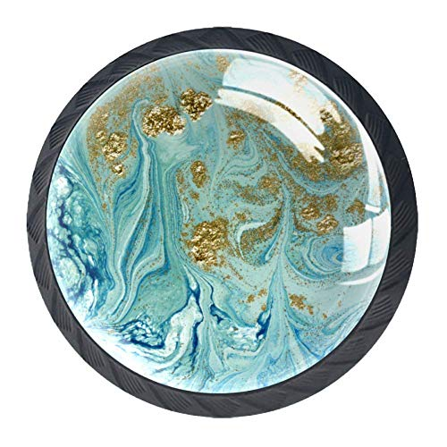 Mooie Mode Aquarel Roze Parfum Glazen Fles en Rozen Kast Dressoir Knoppen 4 Stks Lade Deur Trek Handgrepen voor Keuken Badkamer Unieke Lade Knoppen 35mm zwart06