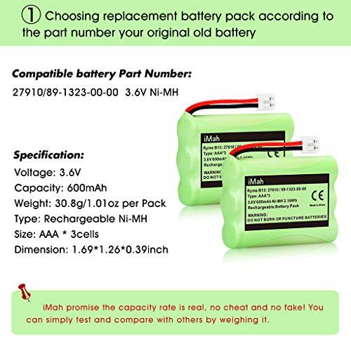 iMah 27910 Cordless Phone Battery Pack Compatible with AT&T 89-1323-00-0 Motorola SD-7501 Vtech 27910 I6725 RadioShack 23-959 Home Handset 3.6V Ni-MH, Pack of 2 Photo #9