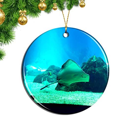 Hqiyaols Ornament Portugal Aquarium Lissabon Weihnachten Ornamente Hängende Verzierung Keramik Souvenir Stadt Reise Geschenk Baum Tür Fenster Decke Zierschmuck Deko