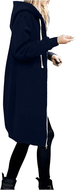 Womens Jacket Zipper Hooded Sweatshirts Casual Long Coat Plus Size Solid Color Outwear Classic Fall Warm Overcoat