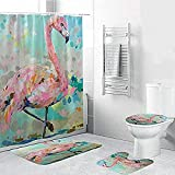 Badmat Set 4 Stuk, Print Waterdicht Douchegordijn Polyester Stof Voor Badkamer Decor 4 Stuk Set Zachte WC Mat Pad