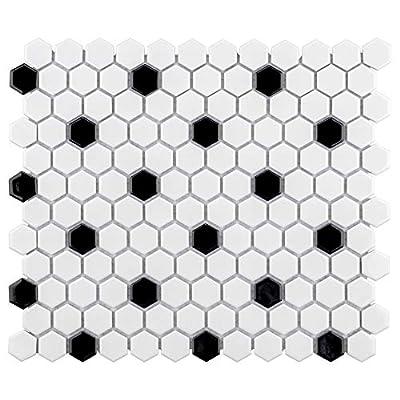 "SomerTile FXLMHWBD Retro Hexagon Porcelain Mosaic Floor and Wall Tile, 10.25"" x 11.75"", White with Black Dot"