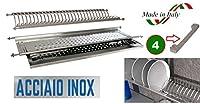 scolapiatti in acciaio inox di lunghezza variabile da 84 a 87 cm con supporti laterali