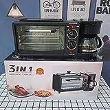 Horno de microondas multifunción 3 en 1, máquina de desayuno, parrilla, hasta 640 W, bandeja giratoria extraíble, negro y acero inoxidable