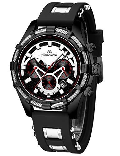 MEGALITH Reloj Hombre Militar Cronógrafo Relojes de Pulsera Deportivo Impermeable Diseñador Reloj Analógico Hombre Esfera Negra Luminosa Fecha