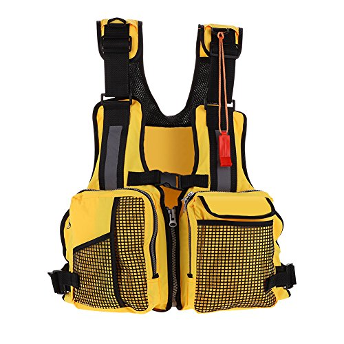 Fishing Life Vest, Kayak Life Jackets Kayaking Watersports Fishing Life Jacket with Multi-Pockets Whistle and Reflective Stripe (Color:Yellow)