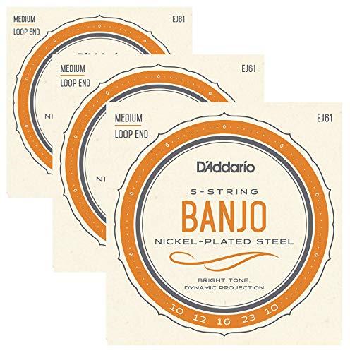 3 Pack | D'Addario Banjo Strings EJ61 (formerly J61) Medium